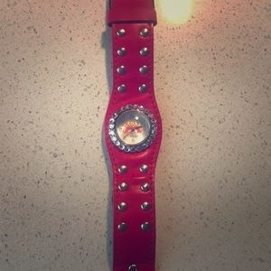 Punk style red crystal watch.